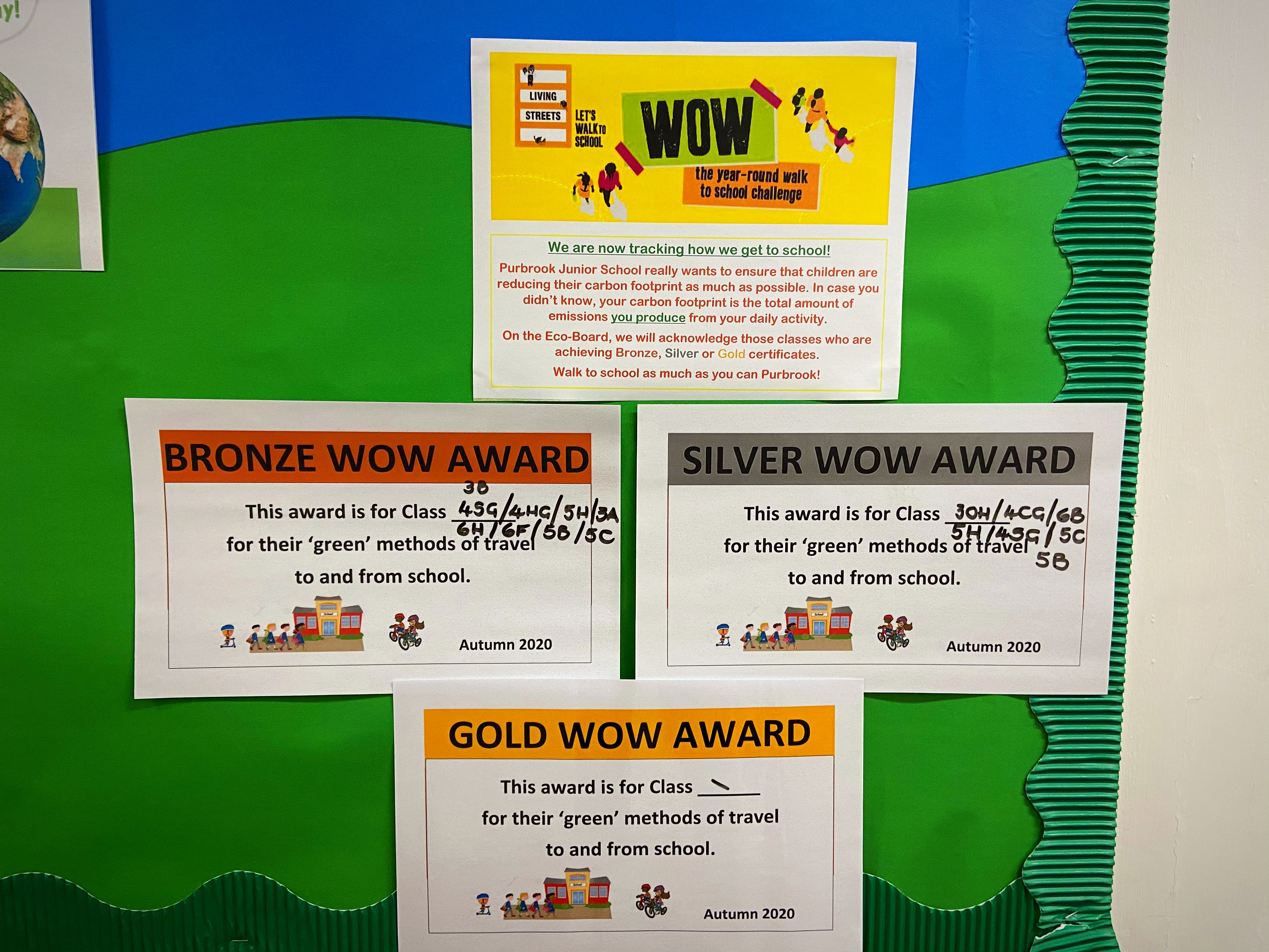 The WOW Travel Tracker has been reintroduced allowing children to record how they travel to school. As a result, children, parents and staff are becoming more mindful of their carbon footprint. Certificates are regularly awarded to the top classes!