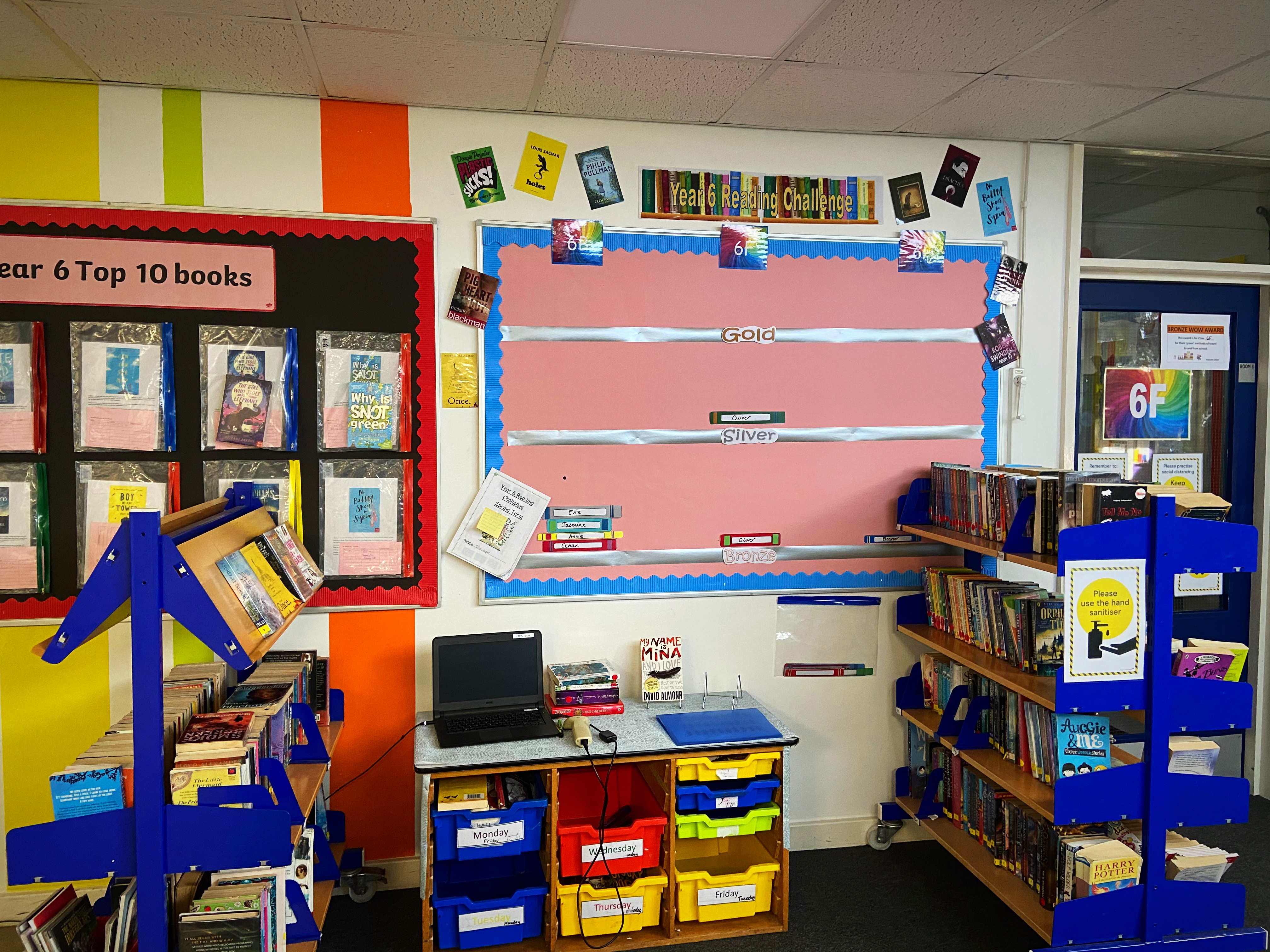 Year group reading challenge displays to promote reading
