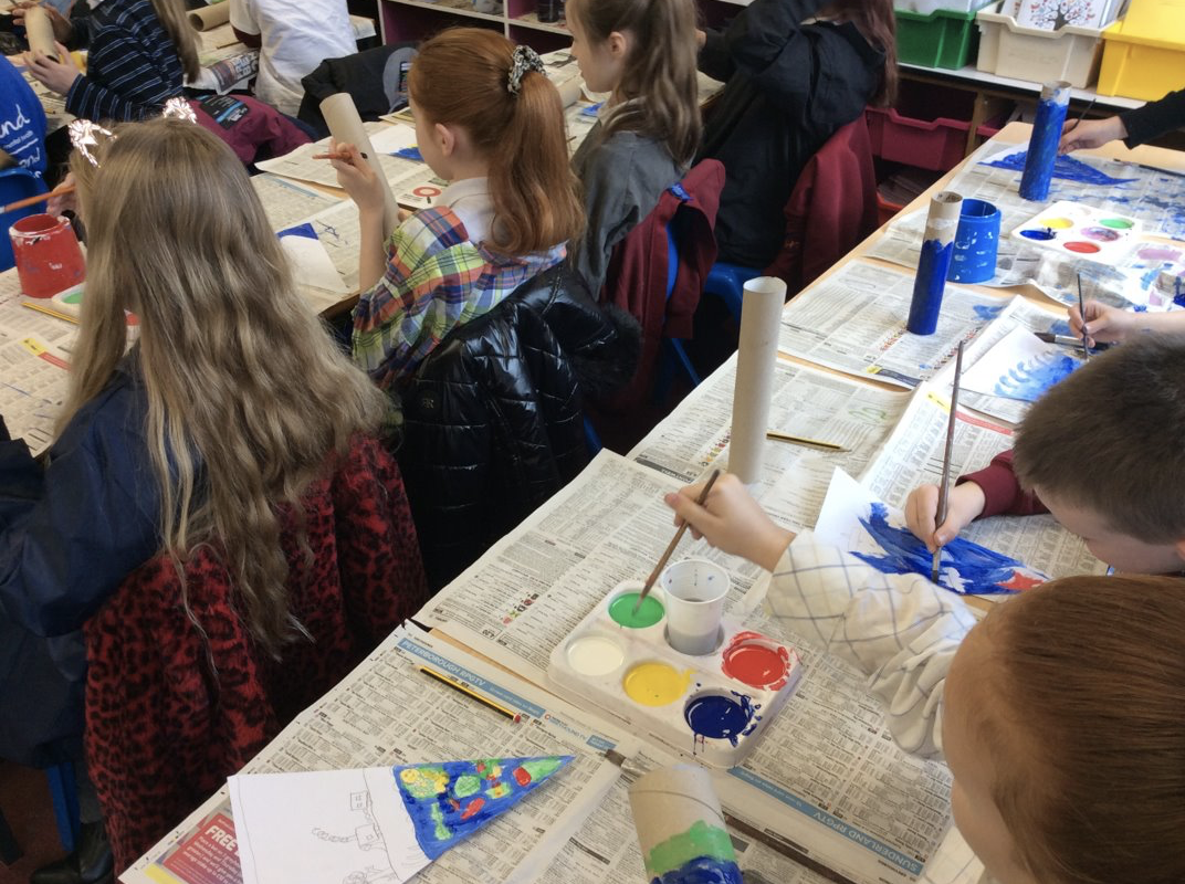 Year 4 creating their plastic pollution bunting and individual totem poles