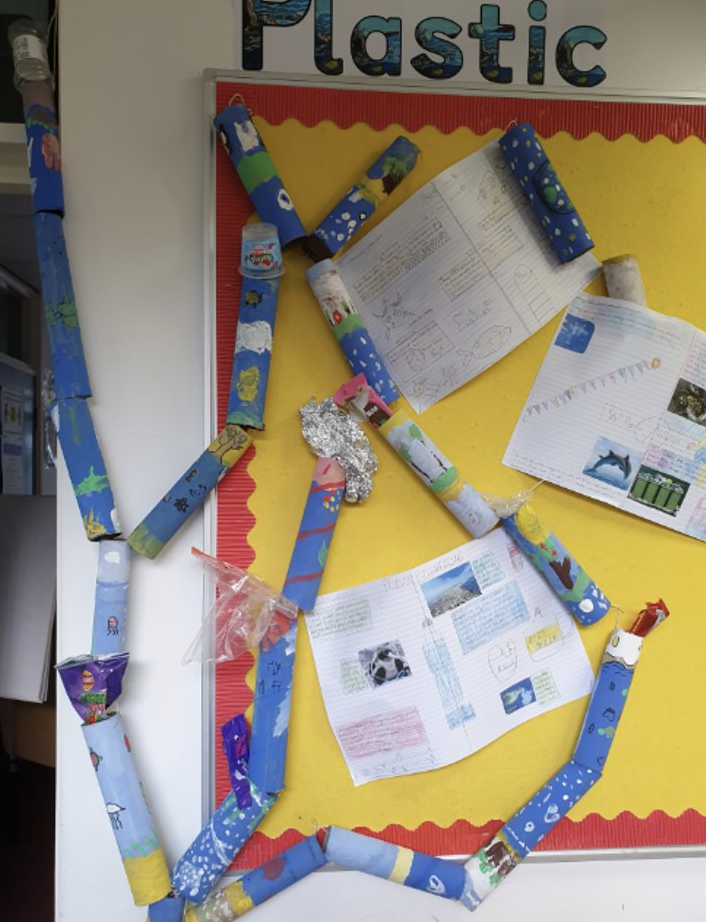 Year 4 Plastic Pollution display using children's totem poles and their Plastic Pollution non-chronological reports